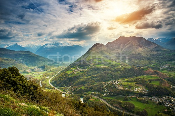 Colourful sky over Pyrenees mountains Stock photo © Nejron