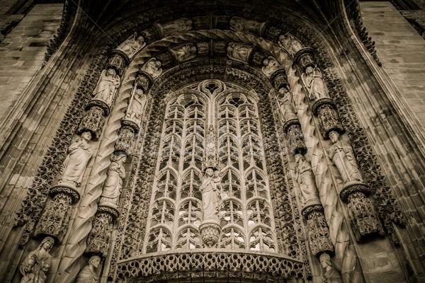 Décoration entrée cathédrale France brique gothique Photo stock © Nejron