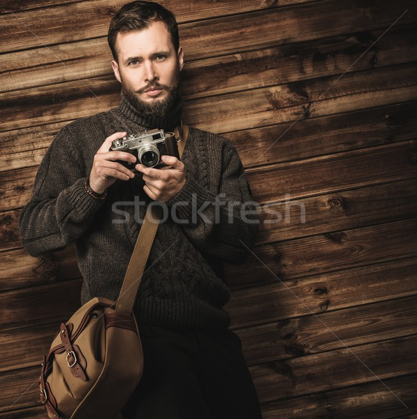Stockfoto: Knappe · man · cardigan · houten
