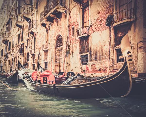 Tradizionale Venezia gondola acqua viaggio nero Foto d'archivio © Nejron