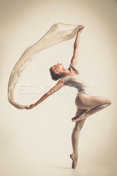 Giovani ballerina dancing pezzo seta tessuto Foto d'archivio © Nejron