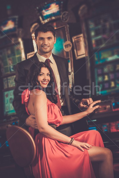 Photo stock: Belle · couple · casino · femme · argent