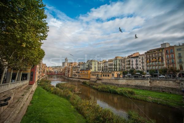 Miasta Hiszpania wody trawy budynku drzew Zdjęcia stock © Nejron