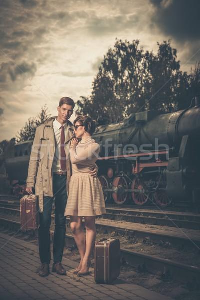 Belo vintage estilo casal malas estação de trem Foto stock © Nejron