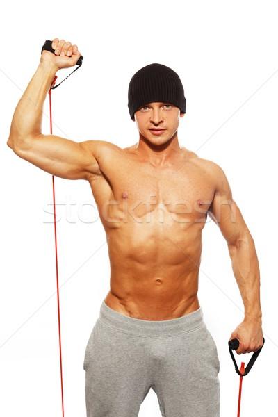 ストックフォト: ハンサムな男 · 筋骨たくましい体 · フィットネス · 行使 · 健康 · ジム