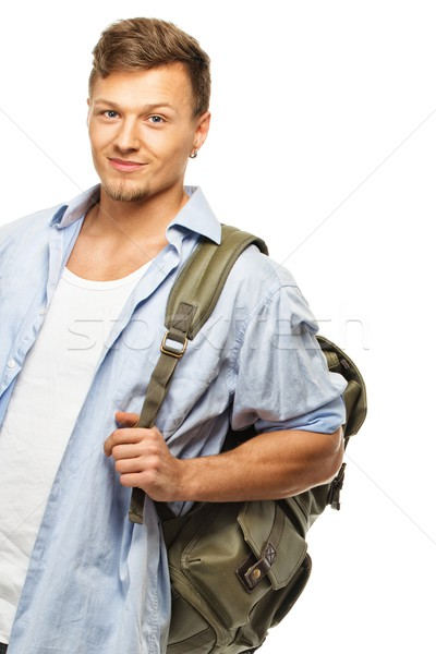 Stylish young student with backpack isolated on white  Stock photo © Nejron