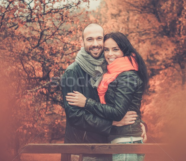 Happy middle-aged couple outdoors on beautiful autumn day Stock photo © Nejron