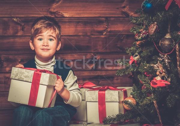 少年 ギフトボックス クリスマスツリー 木製 ストックフォト © Nejron