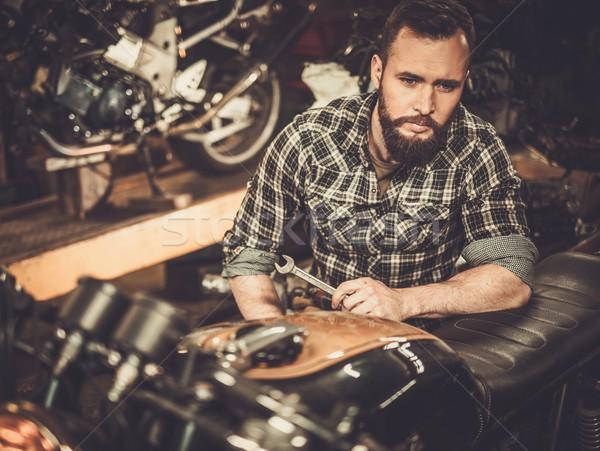 Mekanik Bina bağbozumu stil motosiklet Stok fotoğraf © Nejron
