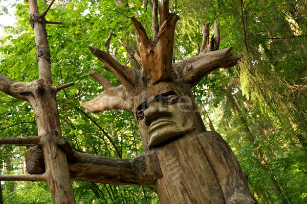 Pagan wooden idol in a woods. Stock photo © Nejron