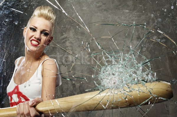 Punk nina vidrio bate cara béisbol Foto stock © Nejron