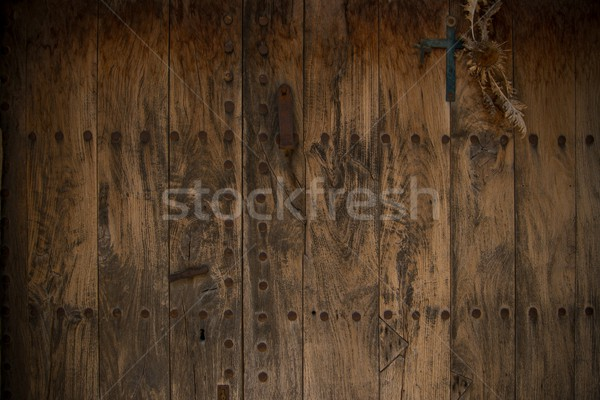 Old wooden door with metal knobs background Stock photo © Nejron