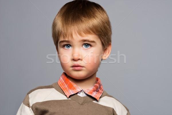 Stockfoto: Knap · weinig · jongen · cardigan · shirt · geïsoleerd