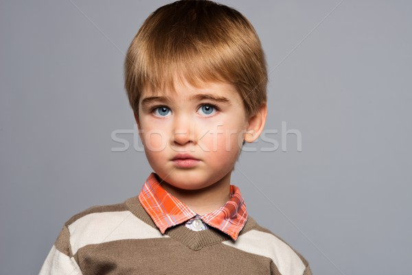Knap weinig jongen cardigan shirt geïsoleerd Stockfoto © Nejron