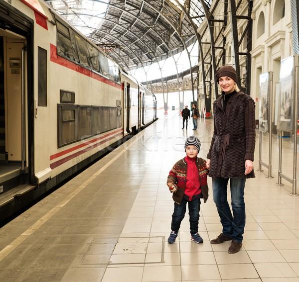 счастливым матери сын железнодорожная станция автомобилей Сток-фото © Nejron