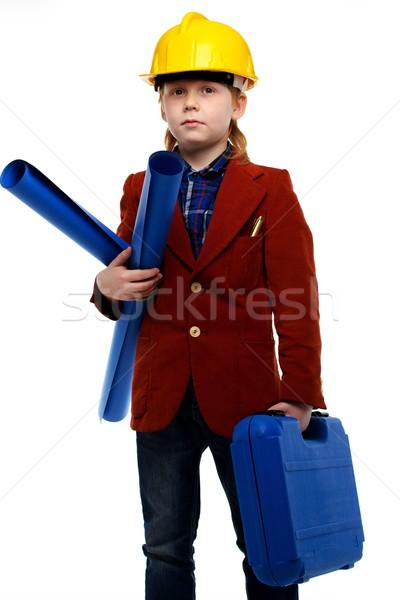 Kicsi fiú tervek szerszámosláda játszik mérnök Stock fotó © Nejron