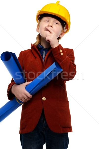 Little boy with plans and toolbox playing engineer role  Stock photo © Nejron