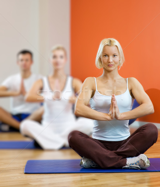 Group of people doing yoga exercise Stock photo © Nejron