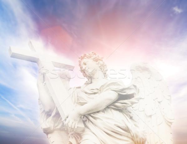 Statue of Angel on the Sant'Angelo Bridge (Italy, Rome) Stock photo © Nejron