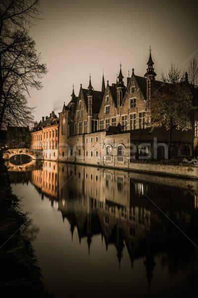 住宅 運河 ベルギー 建物 市 日没 ストックフォト © Nejron