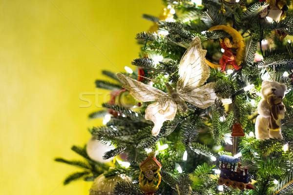装飾された 美しい クリスマスツリー 家 緑 冬 ストックフォト © Nejron