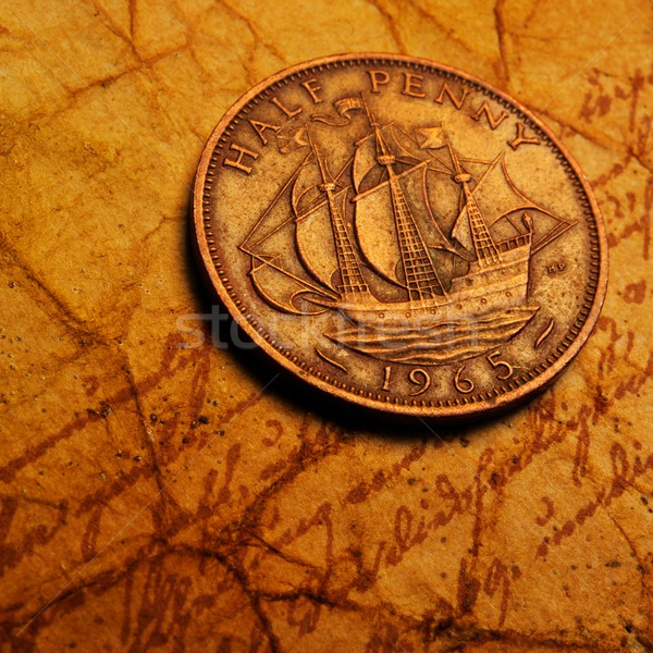 American penny on the old textured paper Stock photo © Nejron