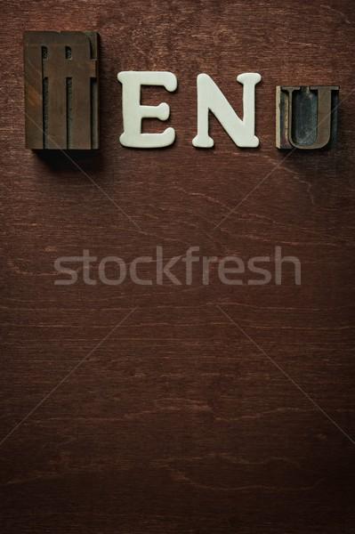 The word menu written on wooden background Stock photo © Nejron