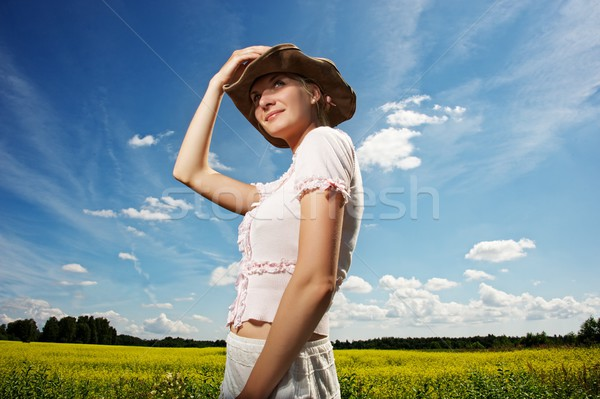 Beautiful woman in cowboy hat. Stock photo © Nejron