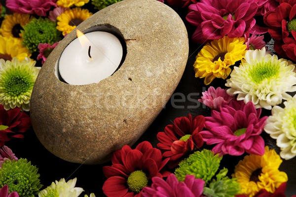 Candle with flowers around it Stock photo © Nejron