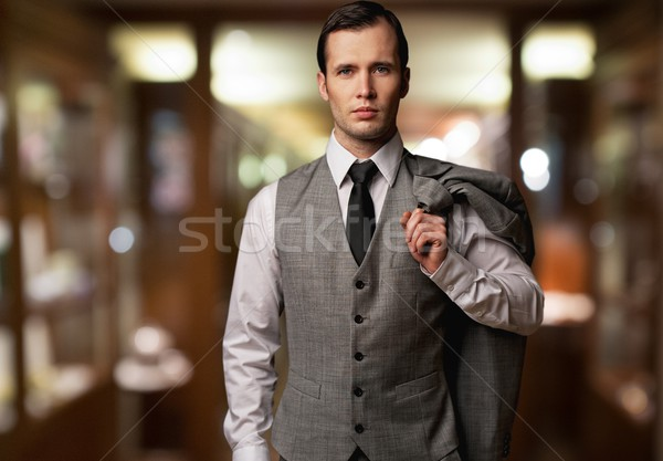 Man vest jas schouder wazig achtergrond Stockfoto © Nejron