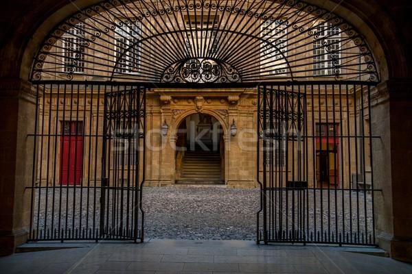 Old building entrance behind metal gate Stock photo © Nejron