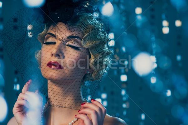 Elegante loiro retro mulher belo penteado Foto stock © Nejron