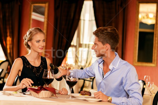 Mooie bril wijn restaurant meisje Stockfoto © Nejron