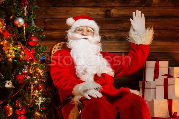 Stockfoto: Kerstman · vergadering · schommelstoel · houten · home · interieur