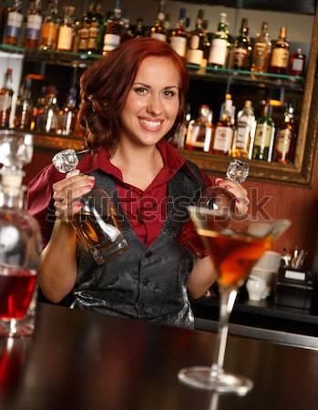Mooie blond vrouw avondkleding permanente bar Stockfoto © Nejron