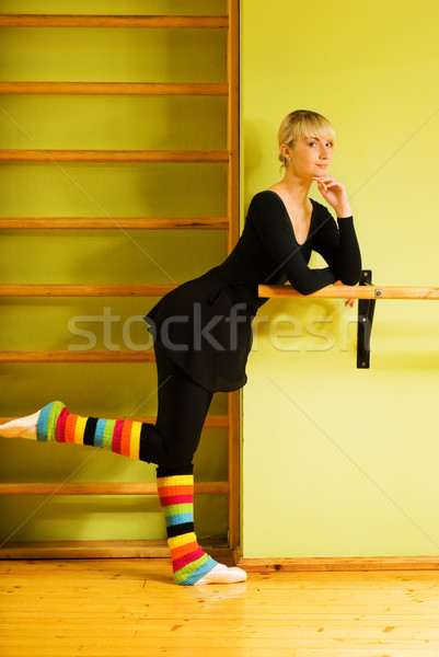 Ballet dancer doing exercise near the bar Stock photo © Nejron