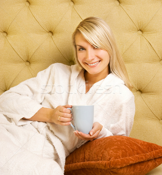 Girl drinking coffee in the morning Stock photo © Nejron