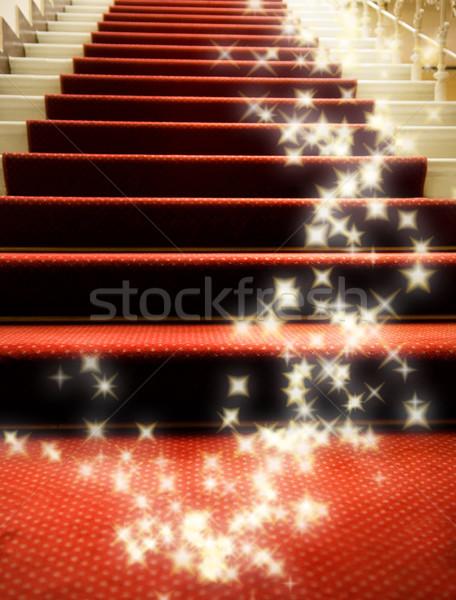 Scale coperto tappeto rosso party luce design Foto d'archivio © Nejron