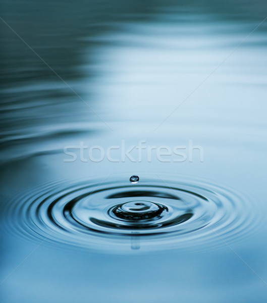 Droplet falling in blue water Stock photo © Nejron