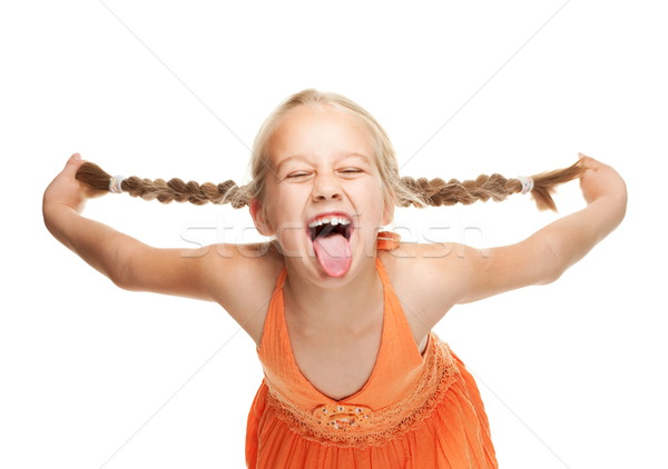 Little girl making funny face Stock photo © Nejron