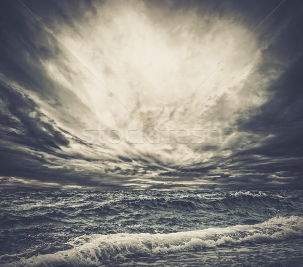 Big ocean wave breaking the shore Stock photo © Nejron