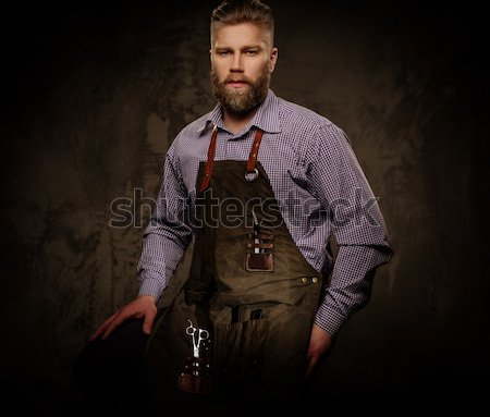 Handsome man with beard  wearing waxed canvas jacket  Stock photo © Nejron