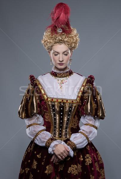 Kraliçe kraliyet elbise yalıtılmış gri güç Stok fotoğraf © Nejron