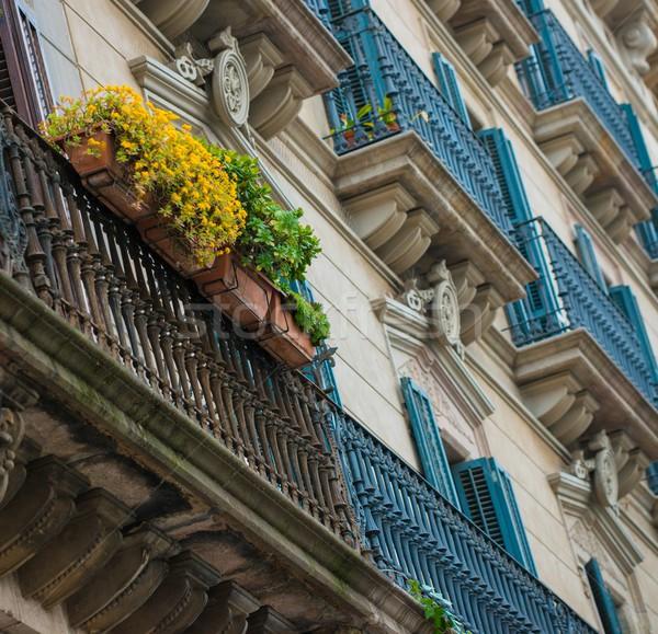 здании фасад красивой балкона полный цветы Сток-фото © Nejron