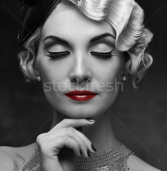 Monochrome portrait of elegant blond retro woman   with beautiful hairdo and red lipstick Stock photo © Nejron