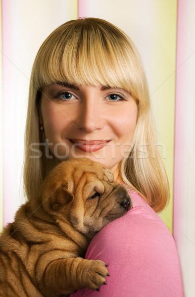 Güzel kız sharpei köpek yavrusu kadın aile kız Stok fotoğraf © Nejron