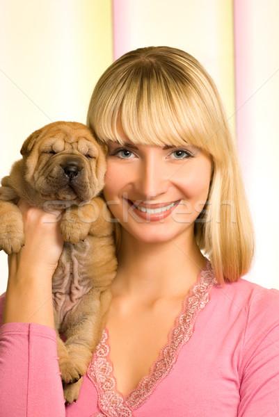 Güzel kız sharpei köpek yavrusu kız bebek gülümseme Stok fotoğraf © Nejron