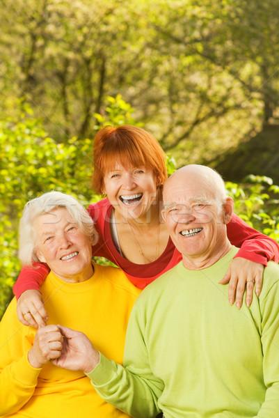 Senior couple with their daugther outdoors Stock photo © Nejron