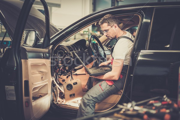 Serviceman making car diagnostics with laptop in a workshop Stock photo © Nejron
