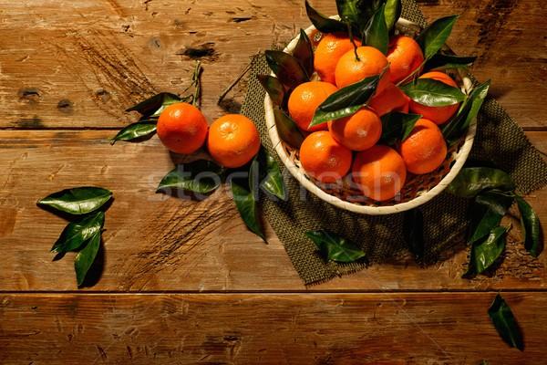 Mand smakelijk houten tafel natuur gezondheid oranje Stockfoto © Nejron